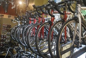 Bikes in a bicycle store