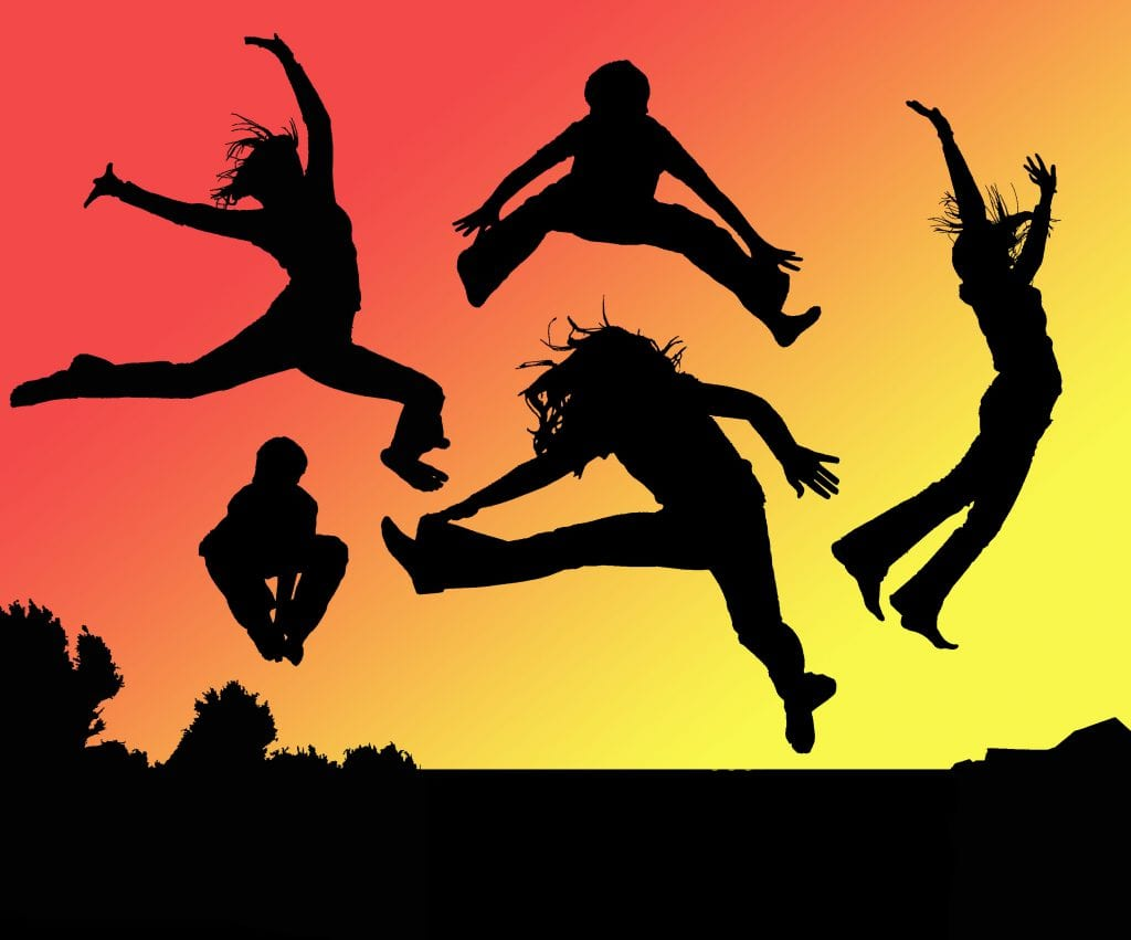 People Jumping With Energy