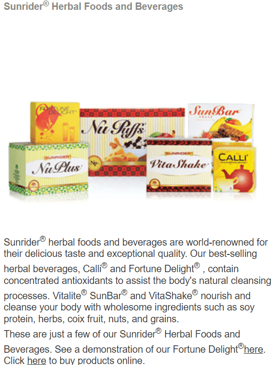 Sunrider Herbal Foods and Beverages